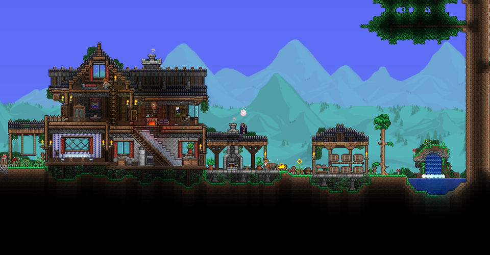 I Made A Forest House Using Chad S Furniture Mod Terraria Forest House Terraria House Design Terraria House Ideas
