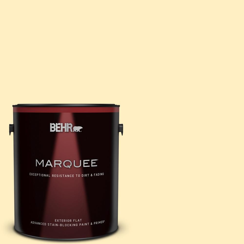 BEHR MARQUEE 1 gal. #380A-2 Moonlit Yellow Flat Exterior Paint and Primer in One.