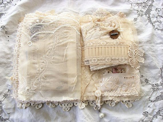 Handmade Fabric And Vintage Lace Journal Fabric Journals Fabric Book Fabric