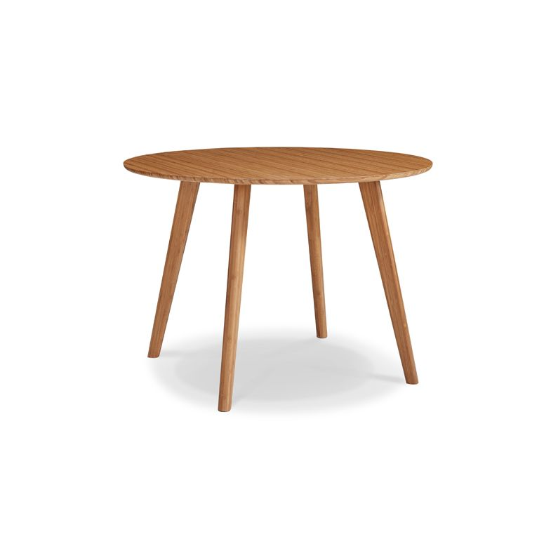 """Crafted in 100% solid bamboo, the Currant 42"""" round dining group is available in classic caramelized or rich black walnut finish"""