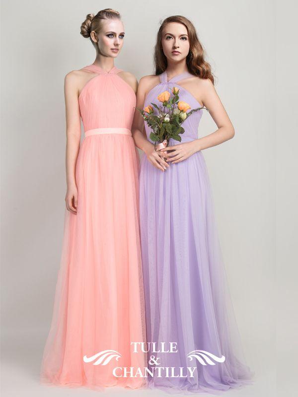 Pleated Long Pastel Passion Tulle Bridesmaid Dress | bridesmaid ...