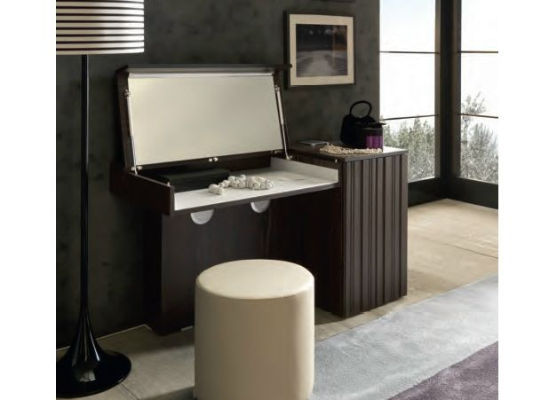 The Harmonic Balance Between Function And Form, The Symphonia Dressing Table  Includes Iphone Speakers And A Fold Down Mirror.