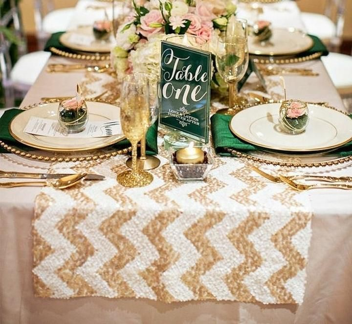Delightful Chevron Sequin Table Runner   Champagne U0026 White (12 X 108)