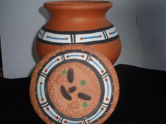 Terracotta jug with lid  from Venezuela  by SocialmarysTreasures, $18.00