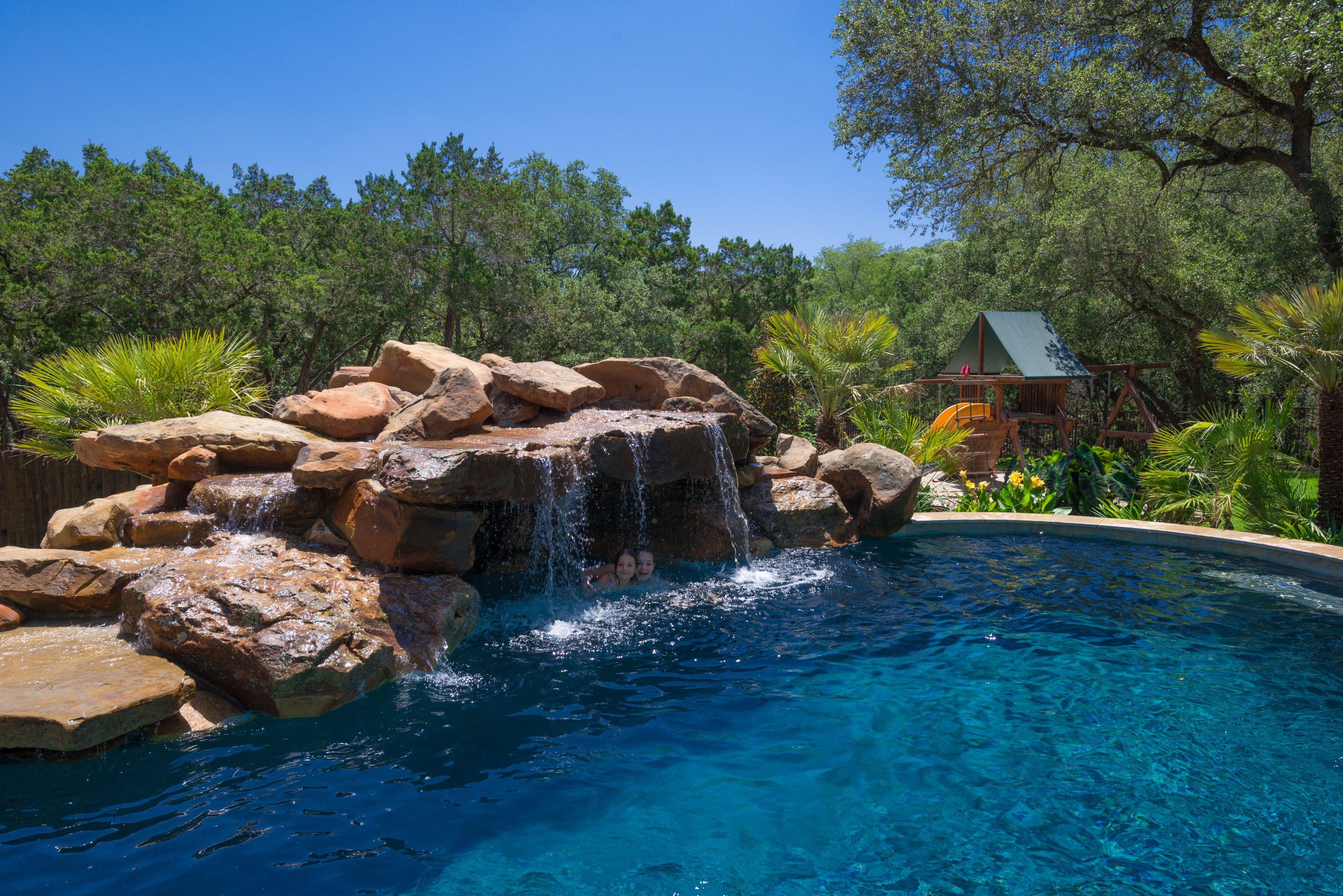 Real Rock Waterfall And Grotto Pool Waterfall Rock Waterfall Pool Designs