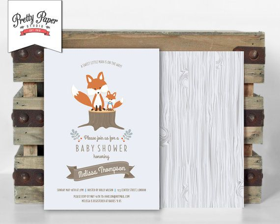 woodland baby shower invitation // woodland fox invite // baby boy, Baby shower invitations