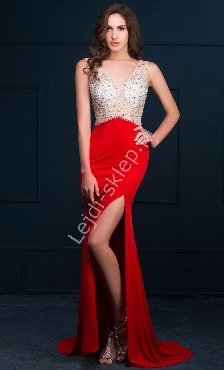 146656517b Czerwona długa suknia z kryształkami i cekinami