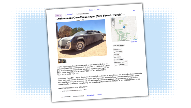 Craigslist Ads From The Future Feral Autonomous Cars For Sale Cars For Sale Automotive News Cars