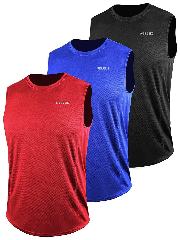 Neleus Men/'s 3 Pack Dry Fit Y-Back Muscle Tank Top
