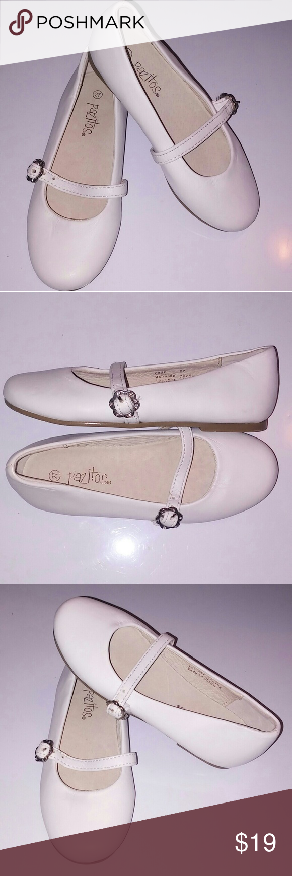 e9d5a114d6d4 Nw Pazitos Daisy Buckle Flat White Very cute flat has a thin strap with a  daisy
