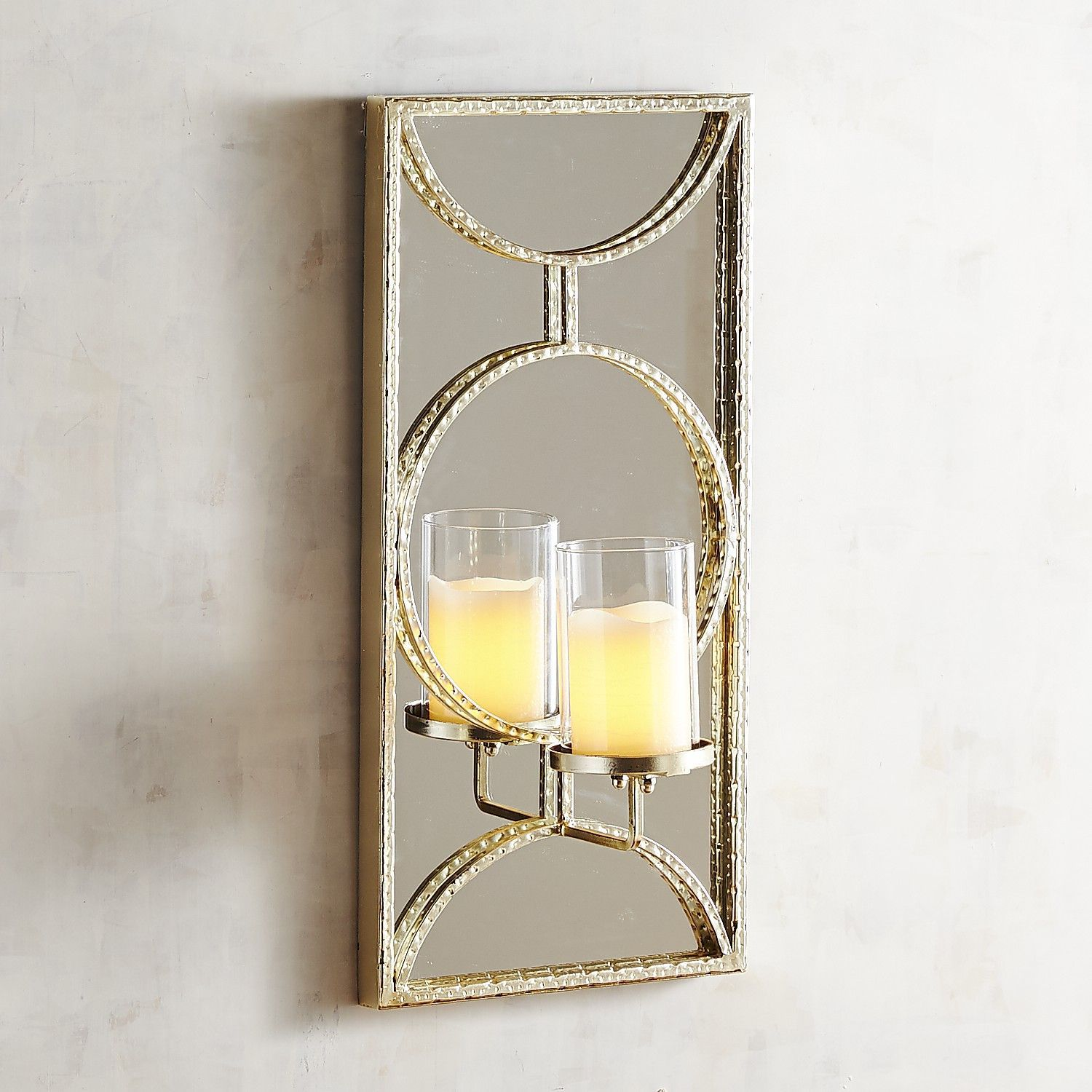 Champagne mirrored candle holder wall sconce