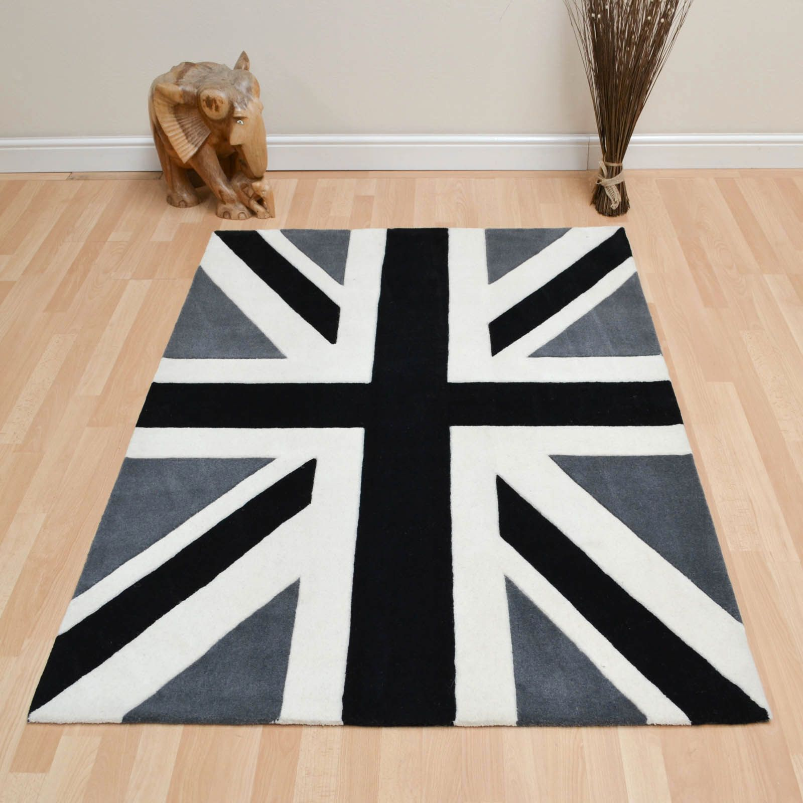 Union Jack Vintage Wool Rugs In Black