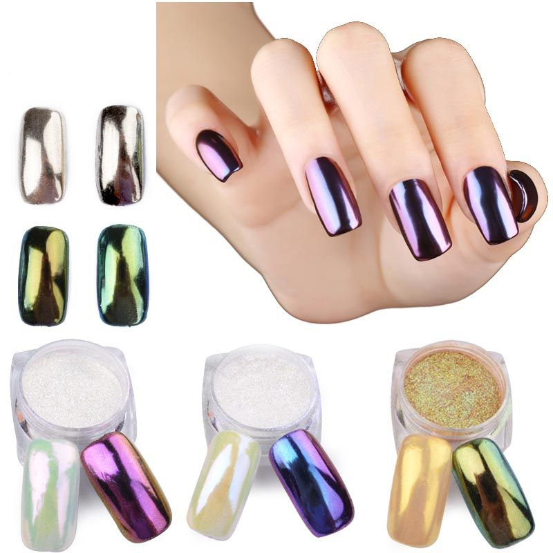 New 3g/pcs Gold Sliver Nail Art Glitter Mirror Powder Shinning ...