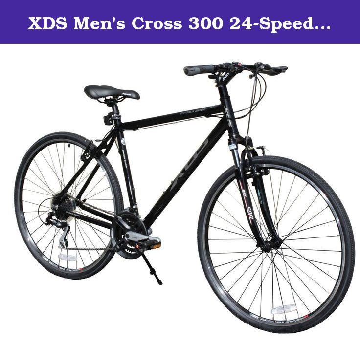 Xds Men S Cross 300 24 Speed Hybrid Bicycle 52cm Jet Black The