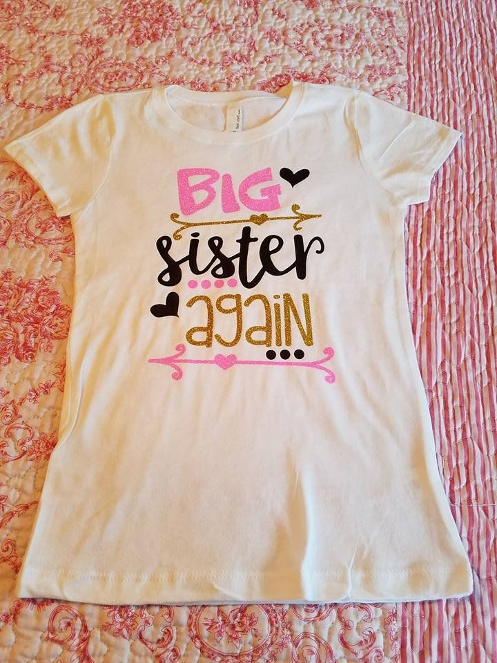 Big Sister Again Big Sister Pregnancy Announcement Shirt Kids