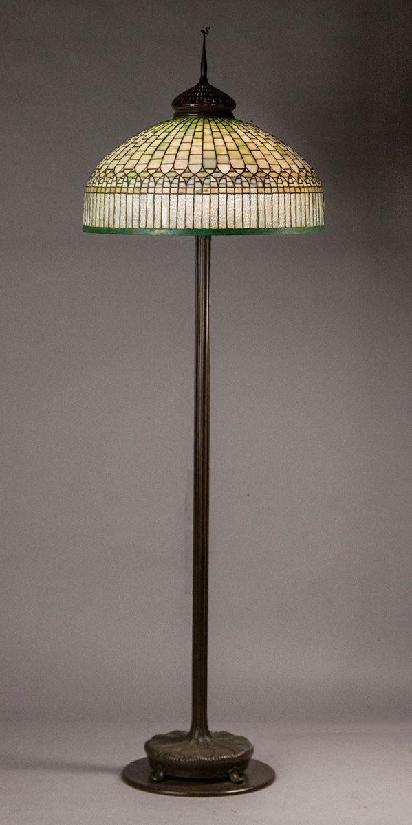 Tiffany Studios Curtain Border Floor Lamp Shade Signed Tiffany