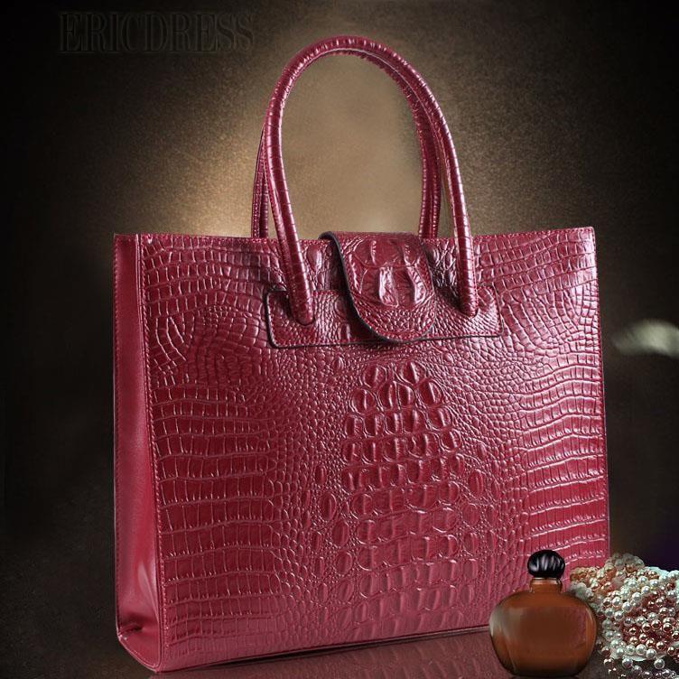 2014 Popular Croco Real Leather Handbags For Women  Handbags