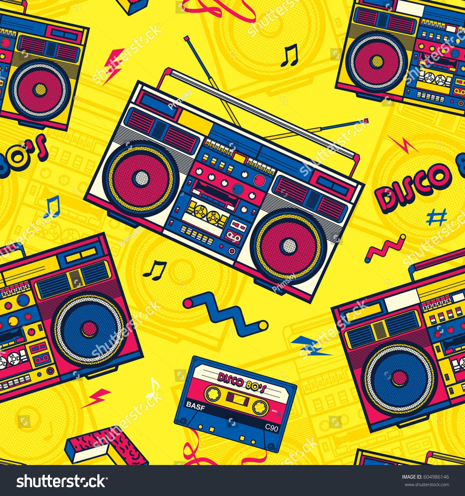 Retro Pop Eighties Boombox Radio Seamless Pattern 80 S Background