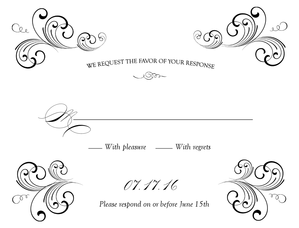 free weddings swirls clip art black swirl wedding response card [ 1052 x 800 Pixel ]