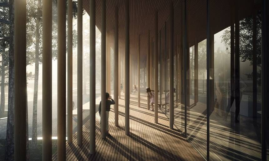 Museum roof in Norway held up by a forest of columns ...