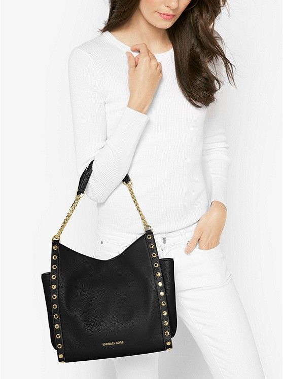 Newbury Studded Leather Chain Tote | Leather chain, Black