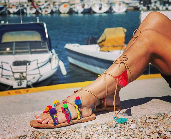 SALES  RiRiPoM Tie Up Gladiator Leather Sandals Boho Chic