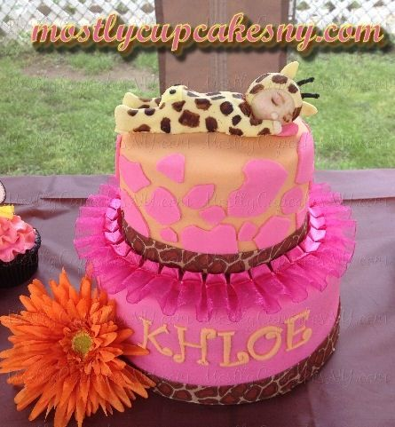 giraffe pink girls baby shower cake. i like how they put the, Baby shower invitation