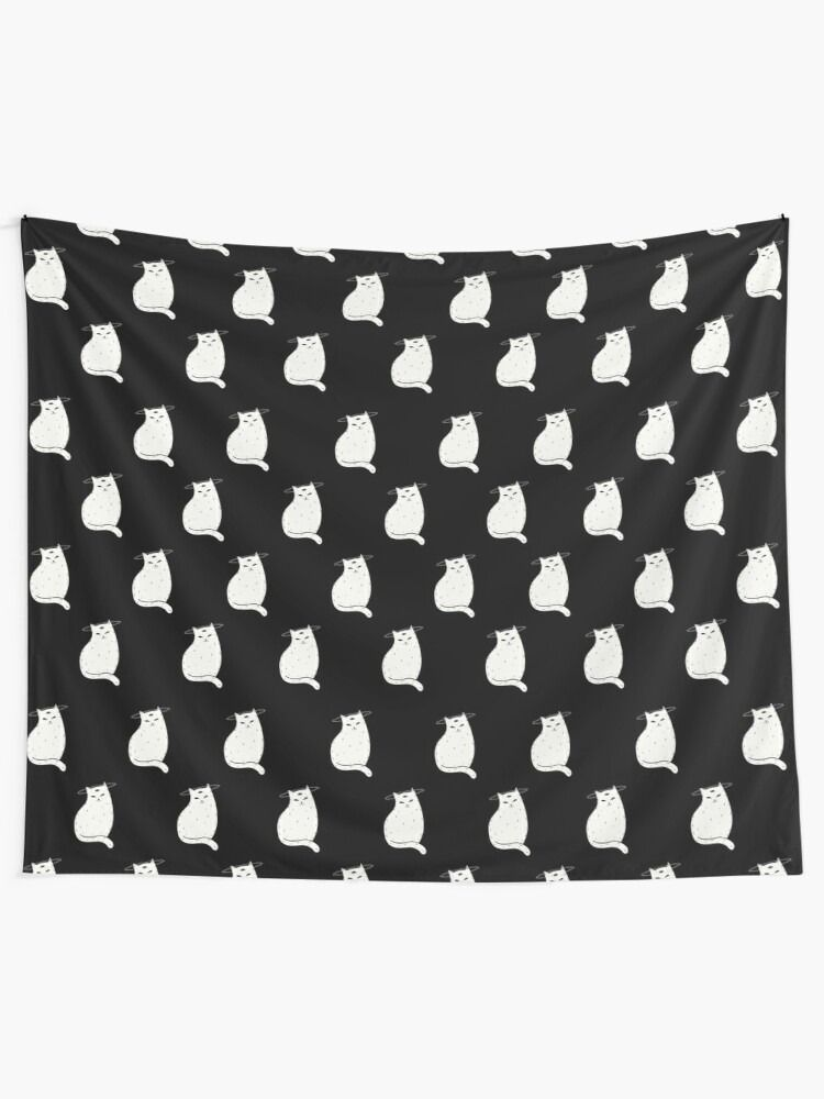 Tapestry Three Eye Cat with halo in black and white pattern