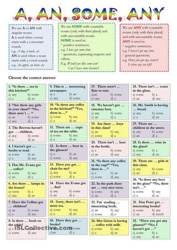 a-an-some-any   Inglês   Pinterest   Grammar activities ...