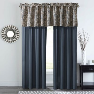 Courtland 84 Rod Pocket Window Curtain Panel Pair In Slate Gold