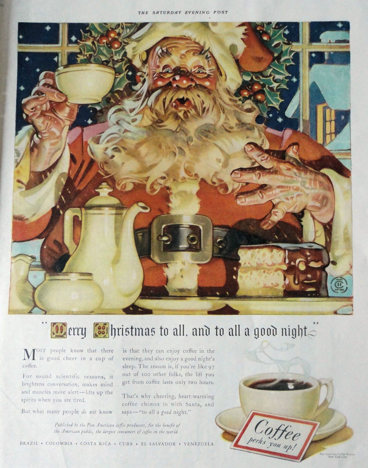 1940 Orig Magazine Print Ad Coffee Bureau Illus J C