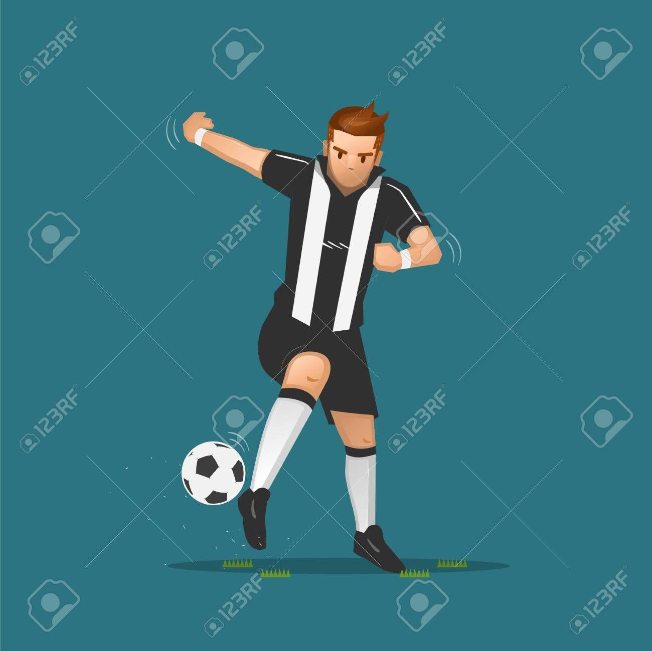 Soccer Player Cartoon Dribbling A Ball On Blue Background Sponsored Cartoon Player Soccer Drib Social Media Strategies Soccer Players Media Strategy
