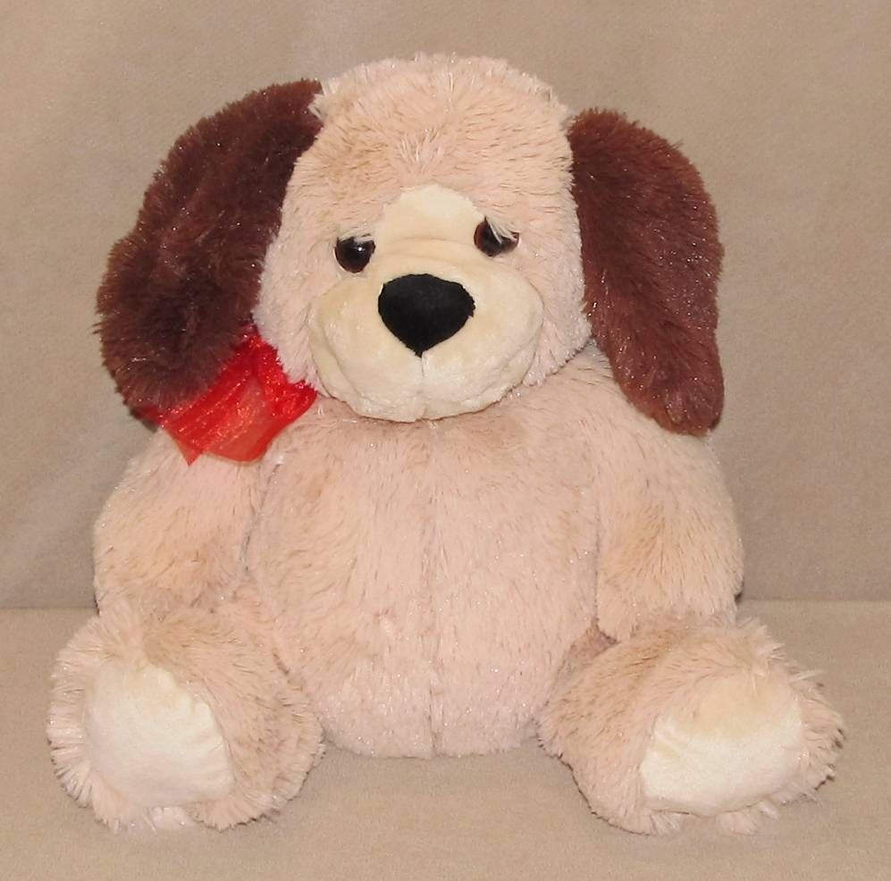 11 Walmart Tan Brown Puppy Dog Plush Stuffed Animal Red Bow