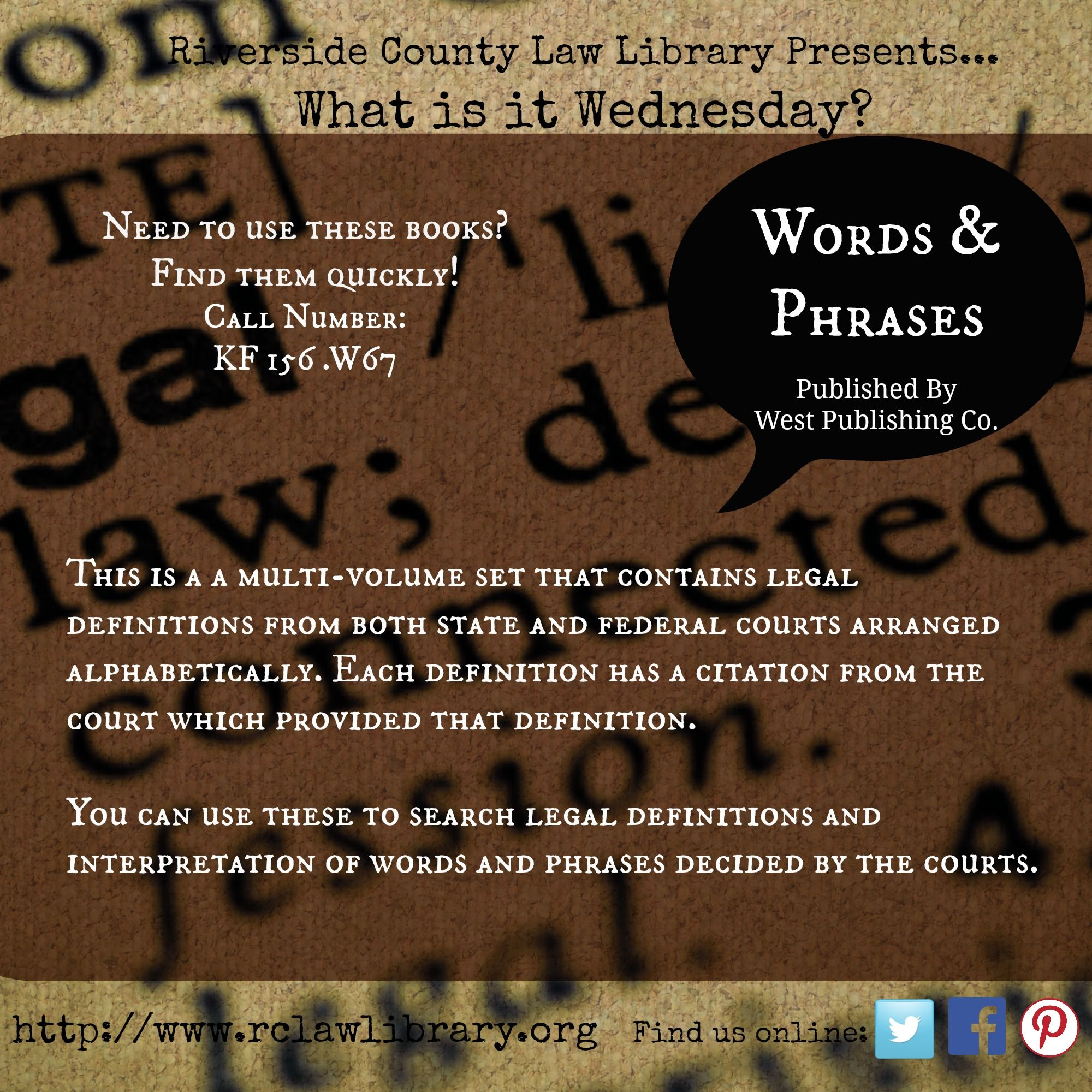 Need a legal definition? Look up the words and phrases here in these What  is it? Wednesday books.