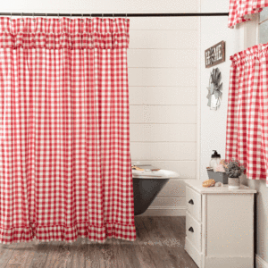 Primitive Star Shower Curtain Red Shower Curtains Bathroom Red Ruffle Shower Curtains