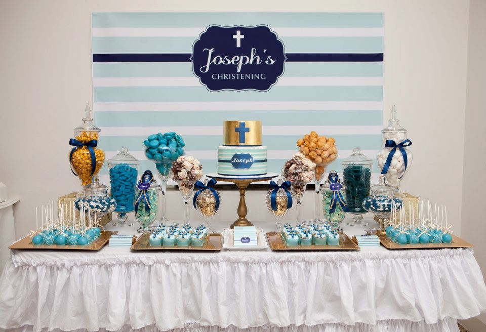 Baby Baptism Gift Ideas Pinterest : Blue christening decoration idea cupcakes as party