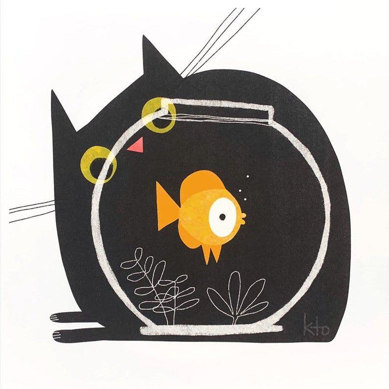 Cute Cat Art - Goldfish Black Cat - Cat Illustration - Black Cat Print - Fish and Cat