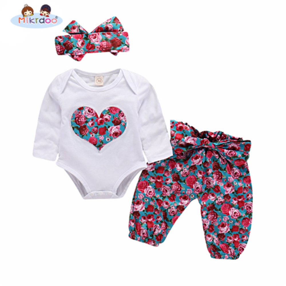 5e9bfa1efc6c Baby Girls Clothing Sets 2018 cute Tops Playsuit Pants Headband Outfit Set  3Pcs Newborn Infant Baby Girls Clothes sport outfit