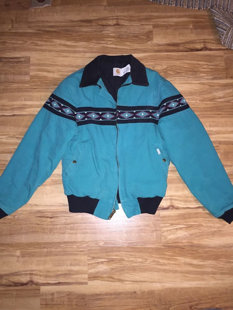 44e09791 Vintage Carhartt Bomber Teal Color Tribal Aztec Design Zipper Jacket ...