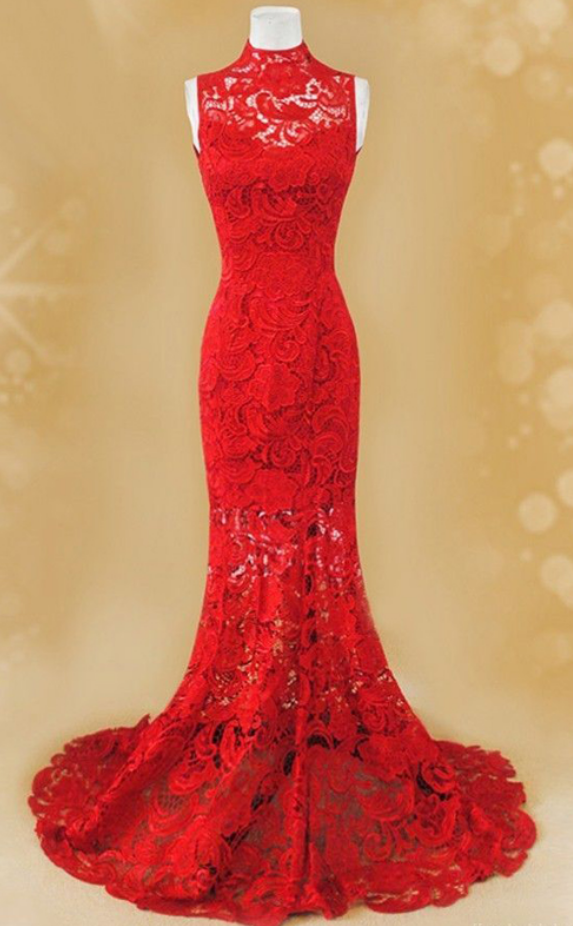 Charming Red Lace Prom Dress, Mermaid Prom Dress, | nicole:)prom ...