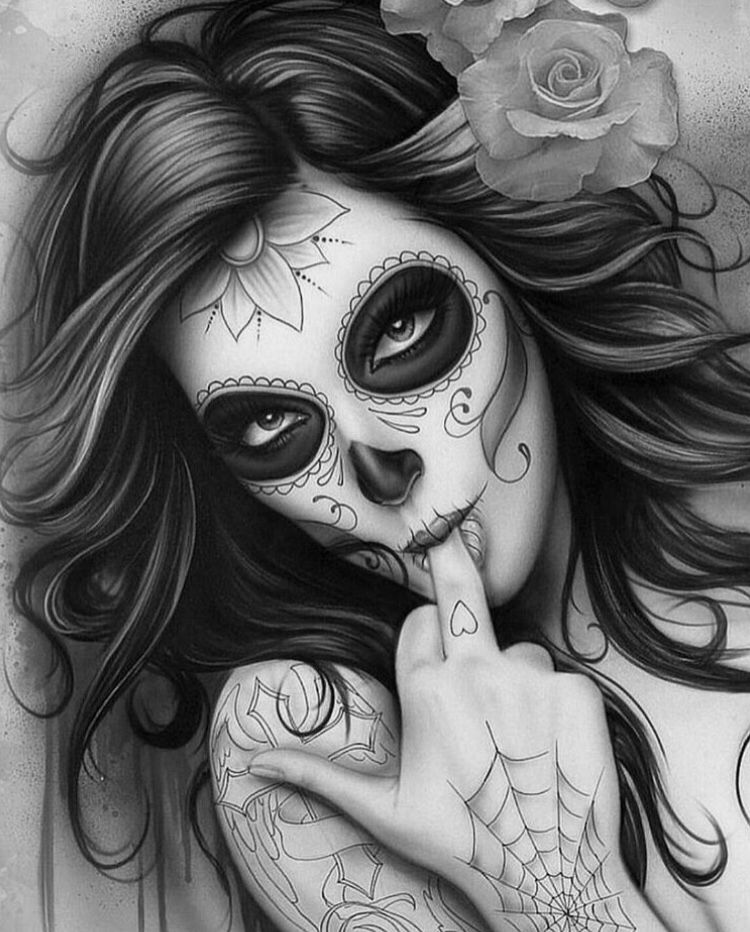 There's chicano day of the dead girl drawings words... super