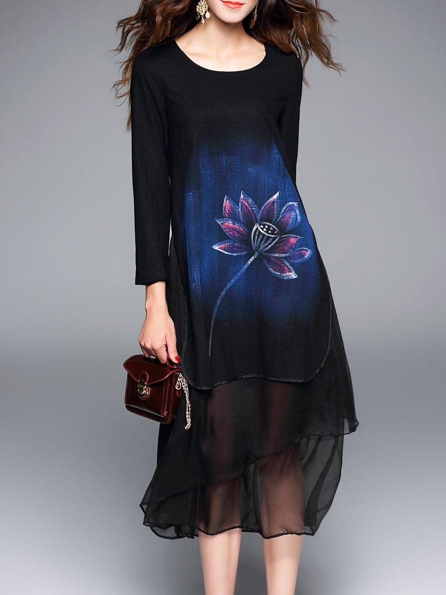 Adorewe stylewe midi dresses dfanni floral printed vintage long
