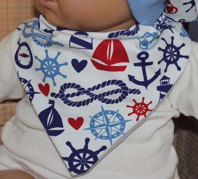 Dreieckstücher - Baby , Halstuch..Maritim/Blau/Weiß/ Jersey/ - ein Designerstück von Zwergenzauber bei DaWanda