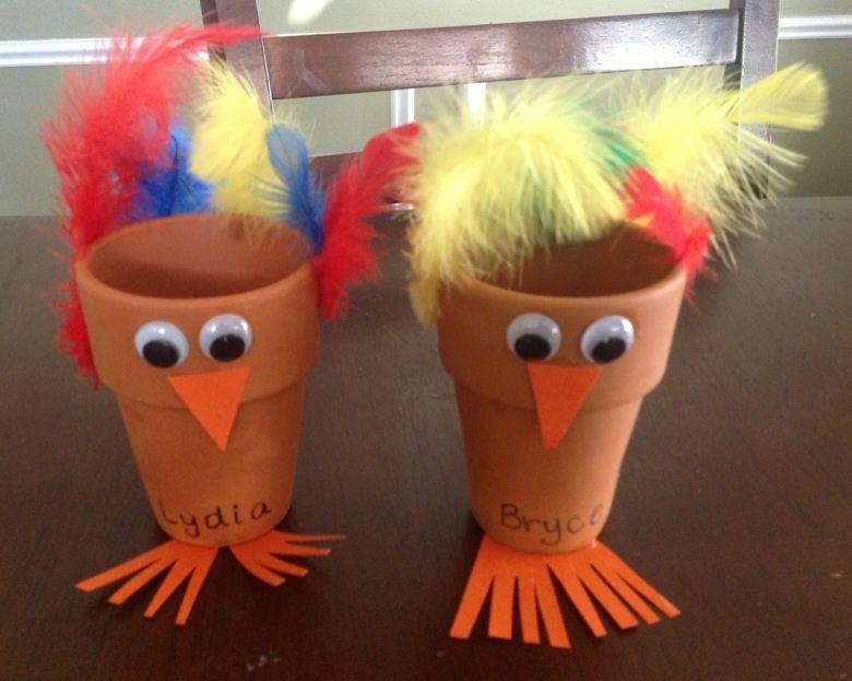 Turkey flower pot thanksgiving craft for kids for Thanksgiving craft ideas pinterest