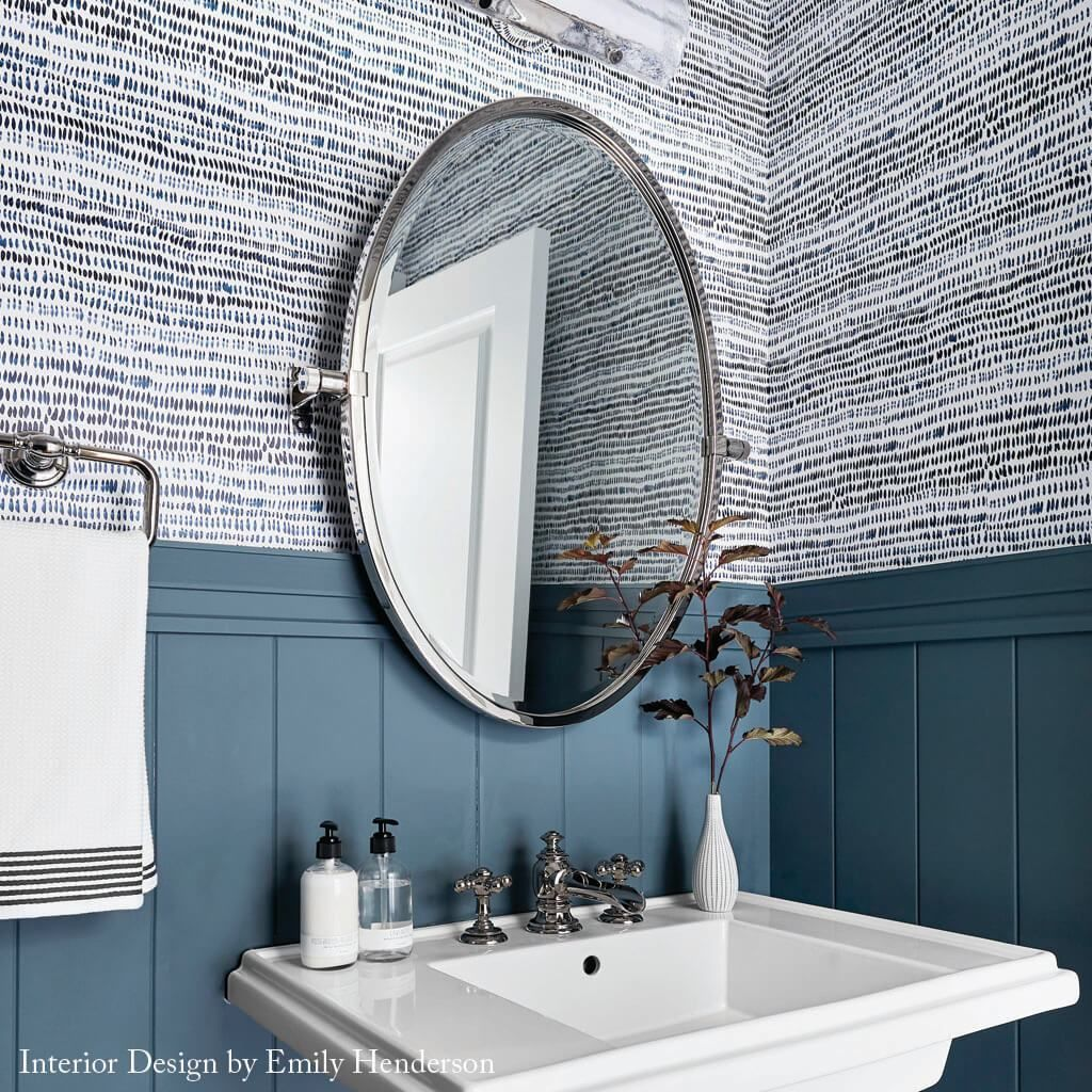 Dashes Wallpaper In Navy Bathroom Renovation Cost Bathroom Styling Bathroom Decor