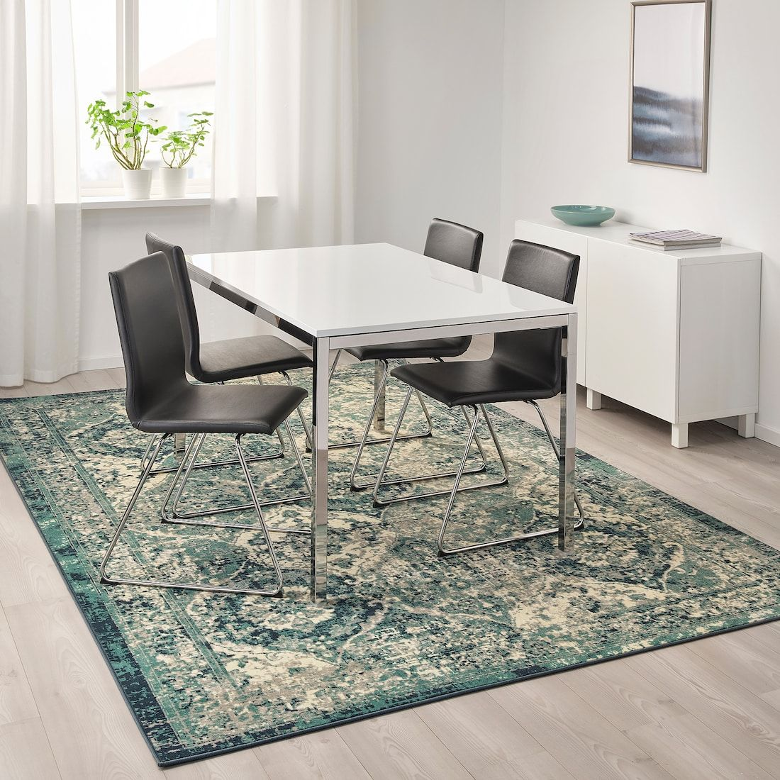 VONSBÄK Rug, low pile - green 200x300 cm | Green rug ...