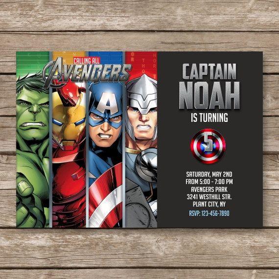 Superhero Invitation, Super hero Invite, Avengers Birthday