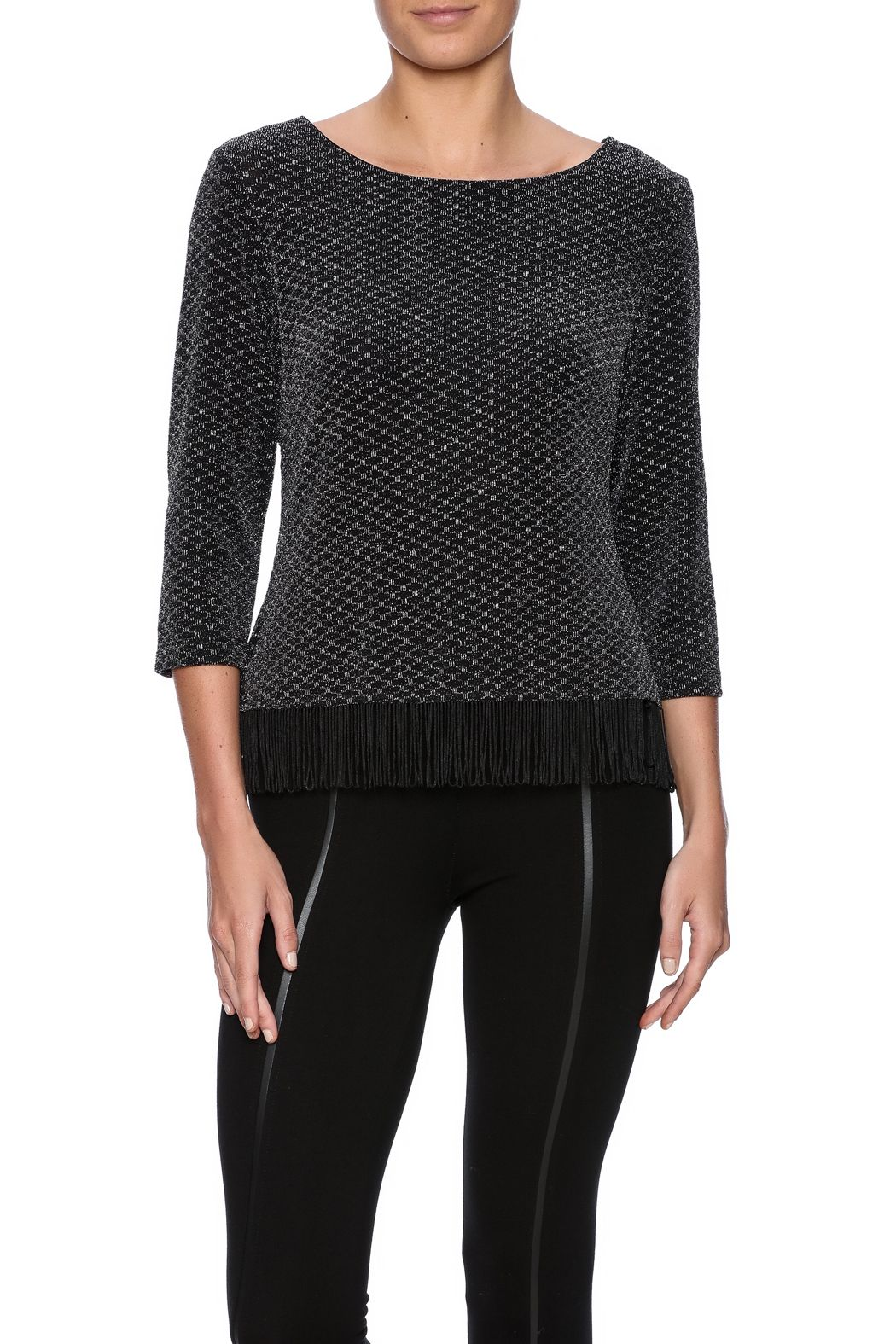 8f83e68b4a7 Black boxy top with metallic thread detail and fringe hem. Crew neck and 3 4  sleeve. Fringe Top by connected apparel. Clothing - Tops - Long Sleeve  Clothing ...