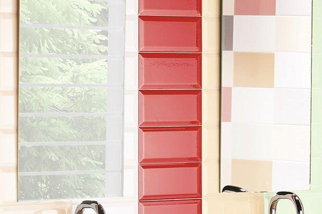 Metro Fliese Facette rot glänzend 10x20 Wandfliese Küche Bad
