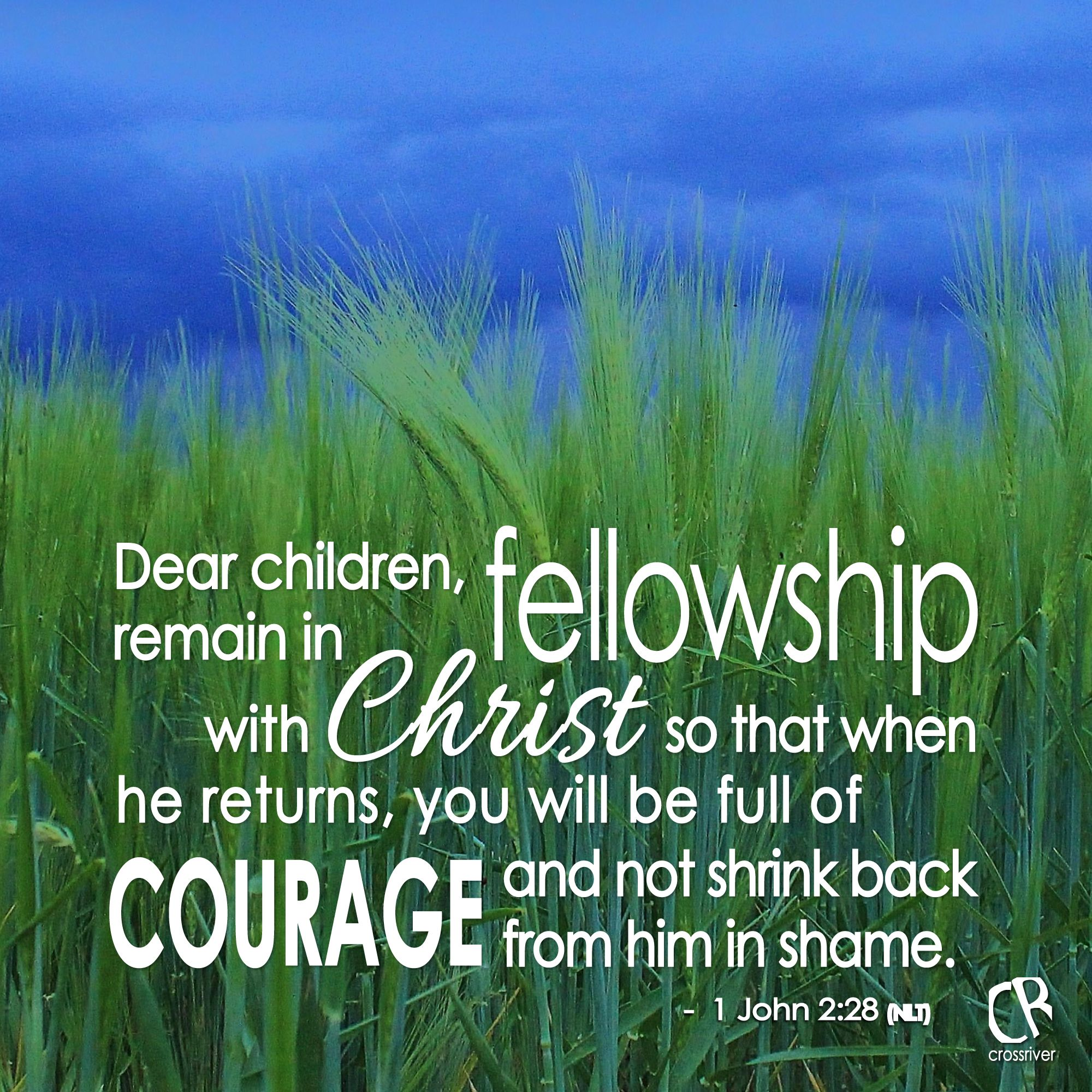 And now, dear children, remain in fellowship with Christ so that when he returns, you will be full of courage and not shrink back from him in shame. - 1 John 2:28 #NLT #Bible verse   CrossRiverMedia.com